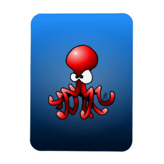 Red octopus rectangular photo magnet