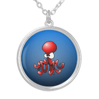 Red Octopus Silver Plated Necklace