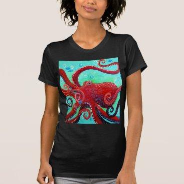 Beach Themed Red Octopus T-Shirt