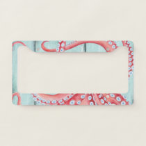 Red Octopus Teal Boards Chic License Plate Frame