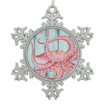 Red Octopus Teal Boards Chic Snowflake Pewter Christmas Ornament