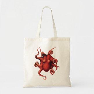 Red octopus vintage image bag