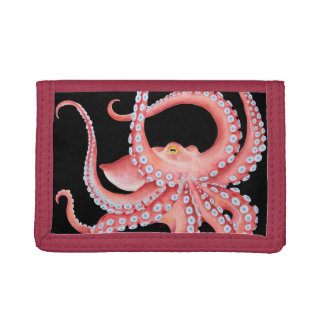 Red Octopus Watercolor On Black Trifold Wallet