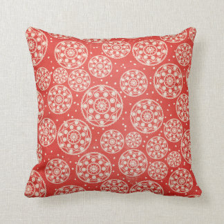 Red, Off White, Blue Snowflake Circle Throw Pillow