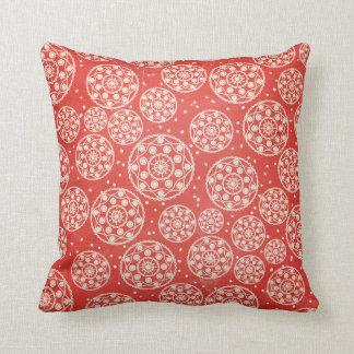 Red, Off White, Blue Snowflake Circle Throw Pillow