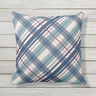 Red, Off- White, Dusty Blue Outdoor Pillow 16x16