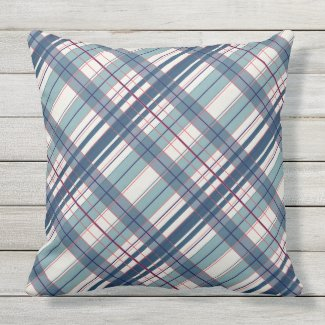 Red, Off- White, Dusty Blue Outdoor Pillow 20x20