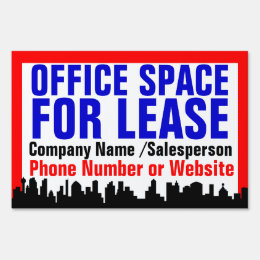 Red Office Space For Lease Sign, Customizable Lawn Sign