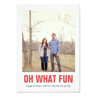 Red Oh What Fun Christmas Photo Flat Cards