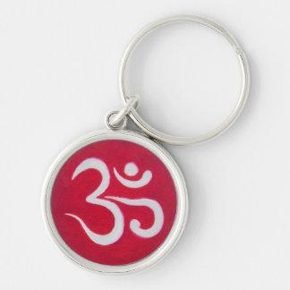 Red Ohm round Keychain