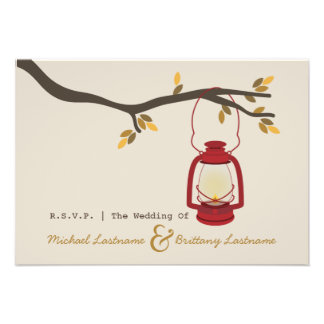 Red Oil Lantern Camping Fall Wedding R S V P Personalized Invites