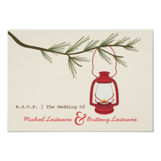 Red Oil Lantern Evergreen Camping Wedding R.S.V.P. Card