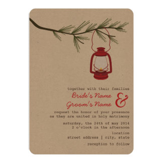Red Oil Lantern Evergreen Tree Camping Wedding Card