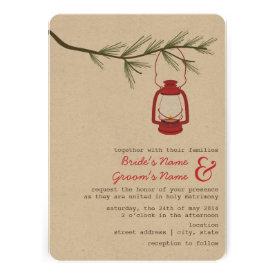 Red Oil Lantern Evergreen Tree Camping Wedding Invitation