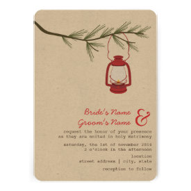 Red Oil Lantern Evergreen Tree Camping Wedding Personalized Invite