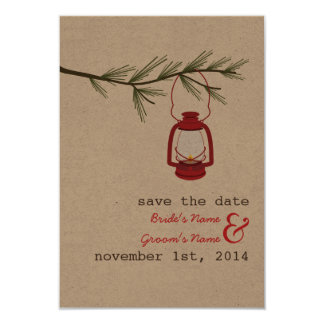 Red Oil Lantern Evergreen Tree Save The Date Card