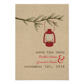 Red Oil Lantern Evergreen Tree Save The Date Announcement