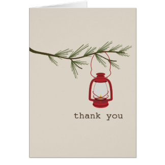 Red Oil Lantern Evergreen Tree Thank You Card