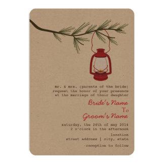 "Red Oil Lantern Evergreen Tree Wedding 5"" X 7"" Invitation Card"