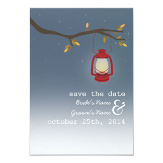 Red Oil Lantern Outdoor Evening Fall Save The Date Card