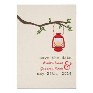 Red Oil Lantern Outdoor Wedding Save The Date Card