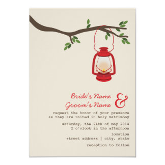 Red Oil Lantern Wilderness / Camping Wedding Card