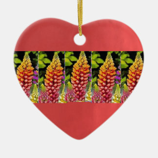 Red Oil painted wall print n Flower Strip Gift bi Double-Sided Heart Ceramic Christmas Ornament