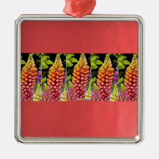 Red Oil painted wall print n Flower Strip Gift bi Square Metal Christmas Ornament
