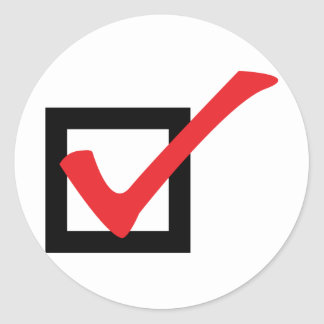 red OK icon Classic Round Sticker