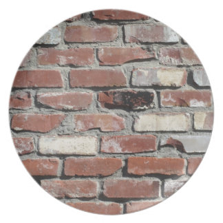 Red old brick wall effect plate