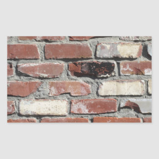 Red old brick wall effect rectangle stickers