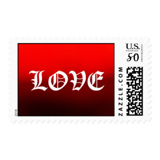 Red Old Calligraphy Love Postage Stamps