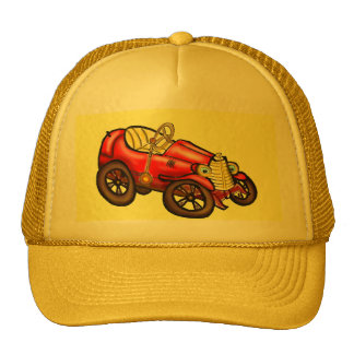 Red old car hat