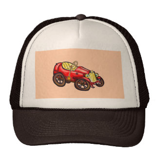 Red old car mesh hat