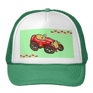 Red old car trucker hat