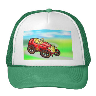 Red old car hats