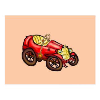 Red old car postcard