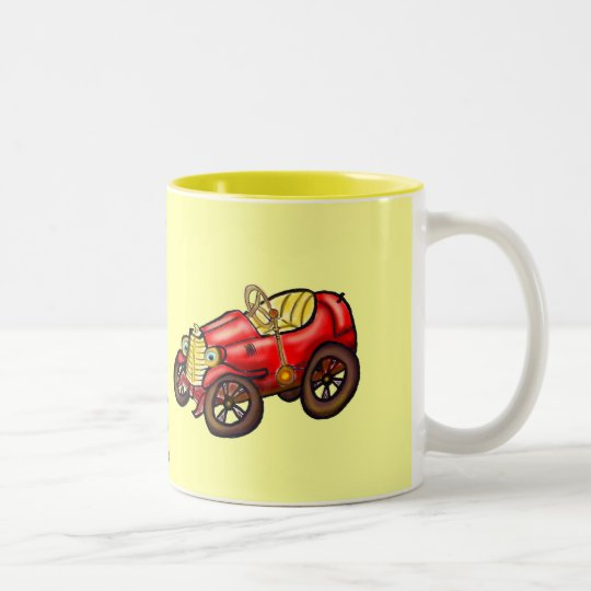 Red old car Two-Tone coffee mug