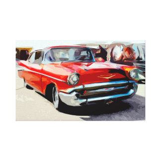 Red Old Classic Car in Vintage Feel Canvas
