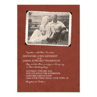 Red Old Photo Album Page Wedding Invitations
