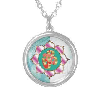 Red OM Lotus Yoga Mandala purple Round Pendant Necklace