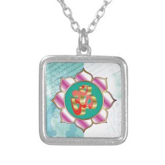 Red OM Lotus Yoga Mandala purple Square Pendant Necklace