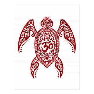 Red Om Sea Turtle on White Postcard