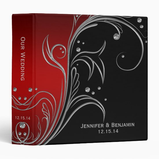 Red Ombre Black Silver Floral Scrolls Photo Album Binder