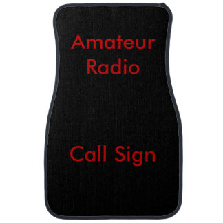 Red on Black Amateur Radio Call Sign Car Mat