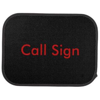 Red on Black Amateur Radio Call Sign Floor Mat