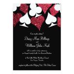 Red on Black Faux Glitter Las Vegas Wedding Card