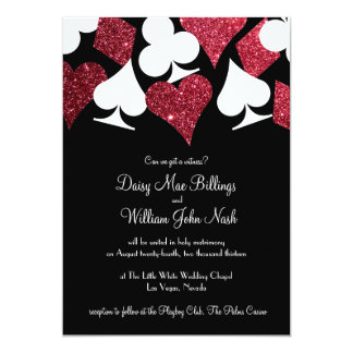 Red on Black Faux Glitter Las Vegas Wedding Card