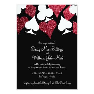 Red on Black Faux Glitter Las Vegas Wedding Invitation