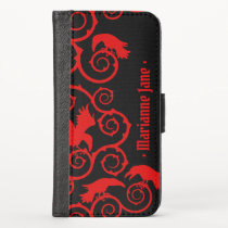 Red on Black Gothic Ravens and Thorns Baroque iPhone X Wallet Case